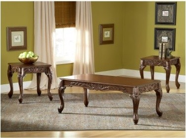 Bernards Carved Cherry 3 Piece Coffee Table Set modern-coffee-tables