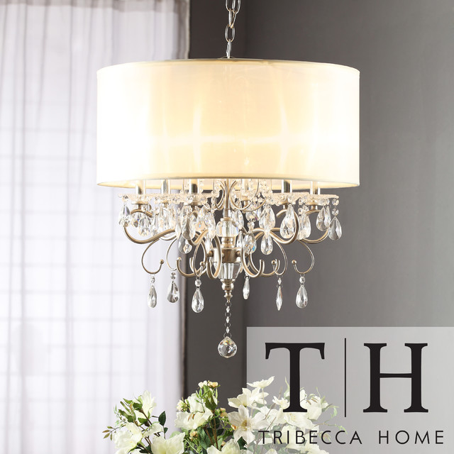 Tribecca home silver mist hanging crystal drum shade chandelier contemporary lamp shades - Crystal hanging chandelier ...