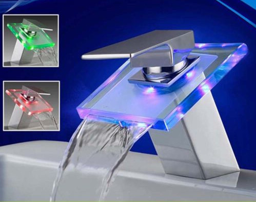 Glass Waterfall LED Bathroom Sink Faucet L-2012 eclectic-bathroom-sink-faucets