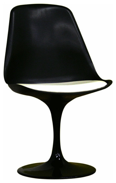 Redd Black Chair with White PVC Cushion Modern Outdoor Lounge Chairs by