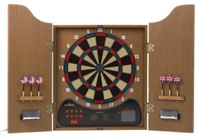 Arachnid Walnut Electronic Dart Board with Cabinet - Modern - Storage Cabinets - by Hayneedle