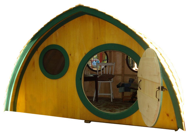 Big Merry Hobbit Hole  base kit plus live edge cedar clapboard roofing eclectic-outdoor-playhouses