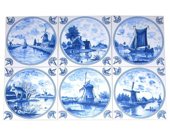 Mottles Murals Ceramic Tiles - Blue Delft Nautical Kiln Fired Ceramic Tiles Set of 6 Tiles - Beautiful Delft Blue Ceramic Tiles