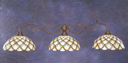 Jazz Bronze Three-Light Billiard Pendant with Honey and Brown Scallop Tiffany Gl traditional-ceiling-lighting