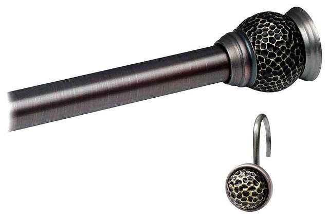 Shower Rod and Round Hook Sets in Rubbed Bron traditional-shower-curtain-rods
