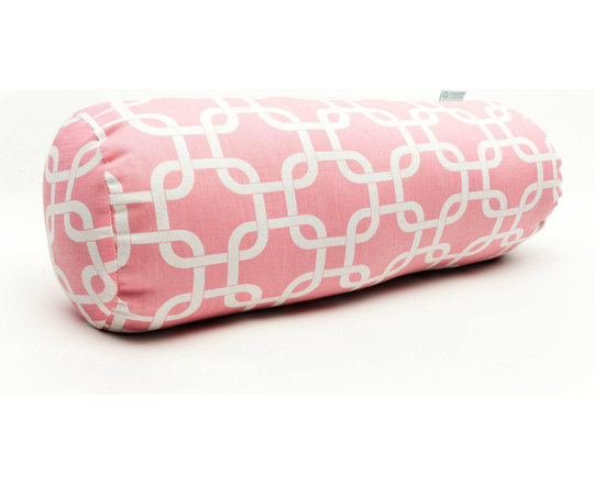 Majestic Home - Indoor Soft Pink Links Round Bolster - You may not need anything to bolster your ego, but how about your decor? A fresh and fabulous chain pattern on durable cotton twill makes a comfy and stylish addition to your favorite modern setting.
