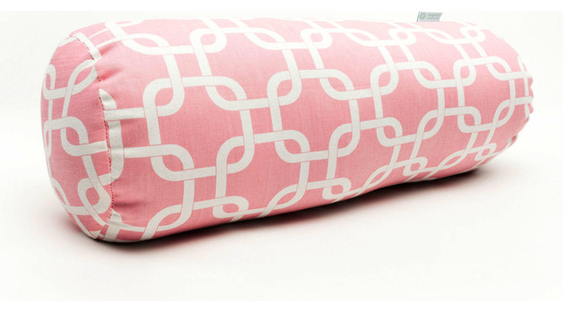 Indoor Soft Pink Links Round Bolster contemporary-pillows