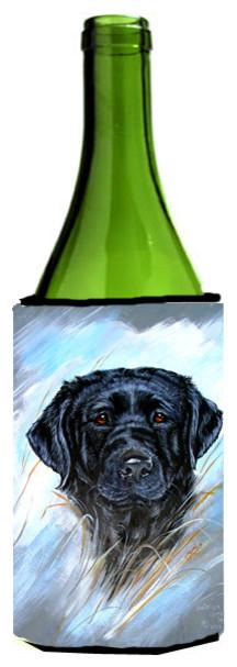 Black Labrador Wine Bottle Koozie Hugger VLM1015LITERK traditional-drink-sleeves