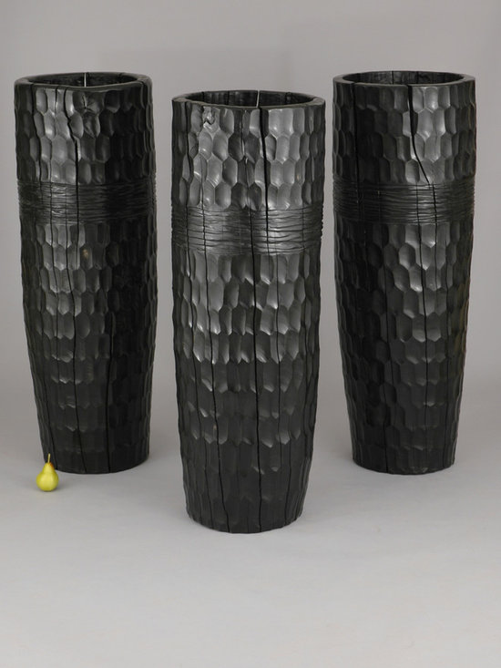 Boutros Vases - Art | Harrison Collection - These sculptural vases are hand carved and chiseled from a solid block of wood, with a shallow cavity hollowed out of the center. Shown here in an ebony stained finish.
