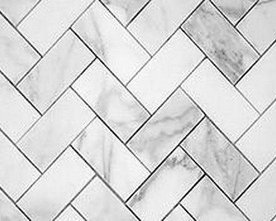 Carrara Marble Tile in Herringbone Pattern -