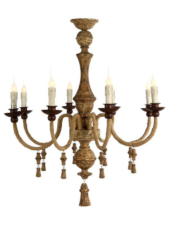 Aidan Gray Turon Chandelier - Hand-wrapped burlap arms adorn the Tuscan sun inspired center column creating a very causal elegant lighting statement.