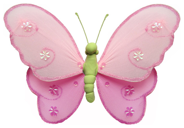 Hanging Butterfly Small Dark Pink Green Pink Hailey Baby Bedroom Kids Childrens Contemporary