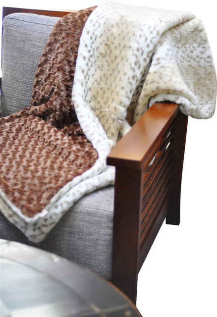 Snow Leopard & Mocha Throw contemporary-throws