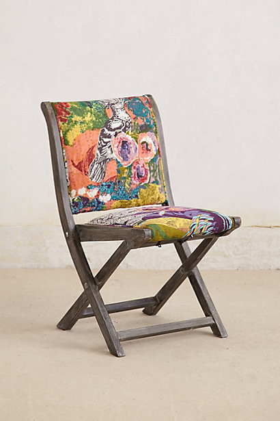Overdyed Terai Folding Chair Purple Motif Contemporary Outdoor Folding C