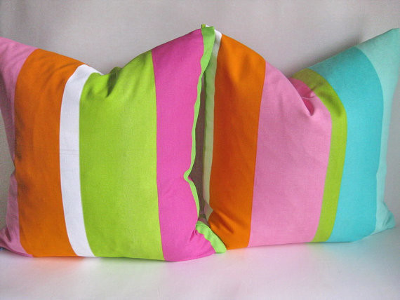 Hot Summer Stripes Indoor Outdoor Pillows By the Cottage Workroom contemporary-outdoor-pillows
