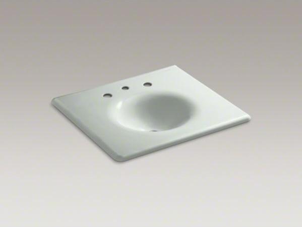 "KOHLER Iron/Impressions(R) 25"" vanity-top bathroom sink with 8"" widespread fauce contemporary-bathroom-sinks"