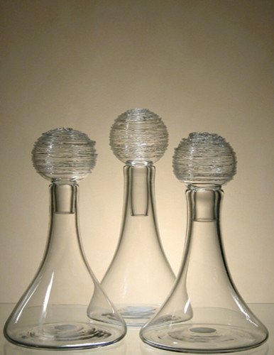 Elizabeth Lyons Glass Clear Spun-top Decanters contemporary barware