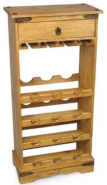 Small Mexican Pine Wine Rack - Traditional - Towel Racks & Stands - other metro - by Direct From ...