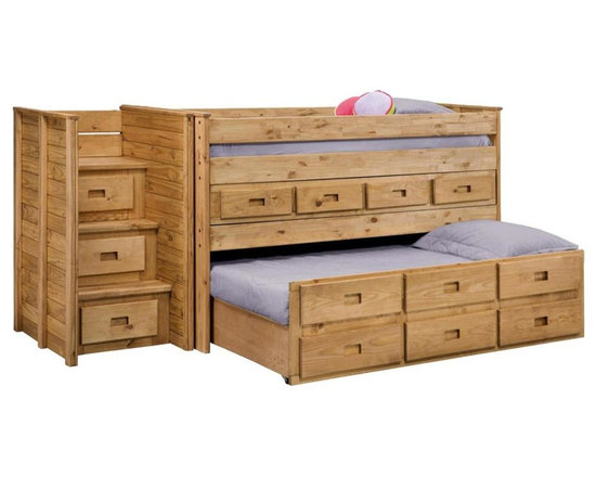 Chelsea Home - Twin Loft Bed with Staircase - NOTE: ivgStores DOES NOT offer assembly on loft beds or bunk beds.. Includes slat packs and twin trundle with three drawers. Mattresses not included. Three step staircase with drawers. Twin upper bunk with four drawer unit. Rustic style. Metal brackets are used to connect the rails to the headboard and footboard. Rails with 1.25 in. cleat which is glued and screwed to the rail for extra strength to support the mattress foundation. Drawer mounted on a rolling metal glide for easy opening and closing. Exceed all safety standards of the consumer product safety commission. Constructed for strength and durability. Can hold up to 400 lbs. of distributed weight. Warranty: One year. Made from solid pine wood. Ginger stain finish. Made in USA. Assembly required. Drawer: 12 in. W x 12 in. D x 4.5 in. H. Overall: 109 in. L x 42 in. W x 48 in. H (445 lbs.). Bunk Bed Warning. Please read before purchase.Warning: Falling hazard, bunk beds should be used by children 6 years of age and older!