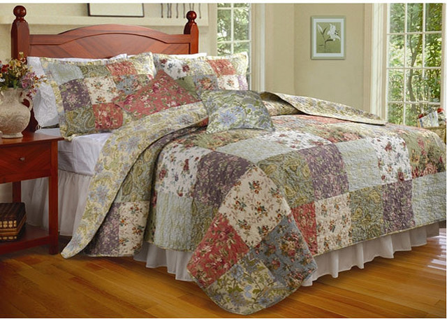 Blooming Prairie 3-piece Twin-size Cotton Quilt Set contemporary-quilts