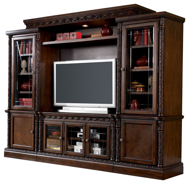 north shore traditional entertainment center in dark brown traditional