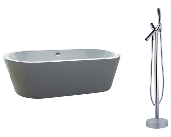 "AKDY - AKDY 71"" AK-ZF224+8711 Euro Style White Acrylic Free Standing Bathtub w/ Faucet - AKDY free standing acrylic bathtubs come in many styles, shapes, and designs. The acrylic material used for tubs is very durable, light weight, and can be molded into a variety of shapes and styles which explain the large selection available in this product category. Acrylic free standing tubs are a cost efficient way to give your bathroom a unique beautiful touch. A bathtub is no longer just a piece of cast iron metal thrown into a bathroom by a builder."