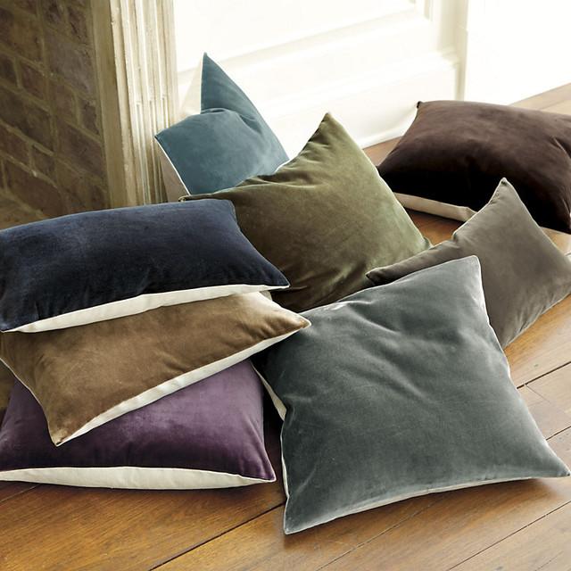 "Signature Velvet and Linen Pillow - Cover Only 20"" contemporary-decorative-pillows"