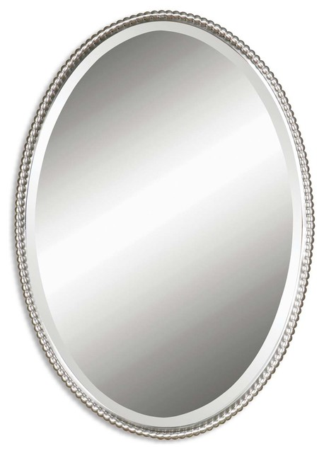 Sherise Brushed Nickel Oval Mirror traditional-wall-mirrors