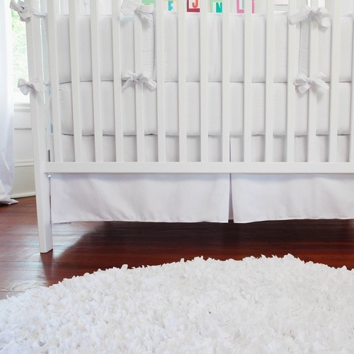 Solid White Crib Skirt  bedskirts