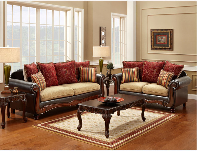 Traditional espresso fabric leather sofa loveseat pillows for Leather and fabric living room sets