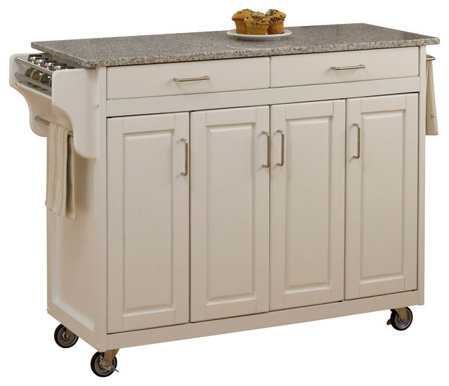 Create a Cart White Finish SP Granite Top transitional kitchen islands and ki