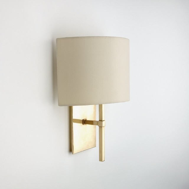 Spence Wall Mounted Single Arm Sconce With Fabric Half Shade - Modern - Wall Sconces - by Waterworks