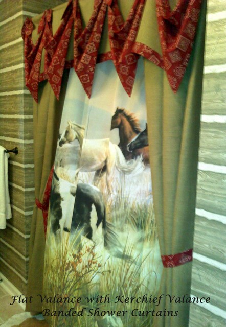Flat Valance With Bandana Swags Amp A Shower Curtain