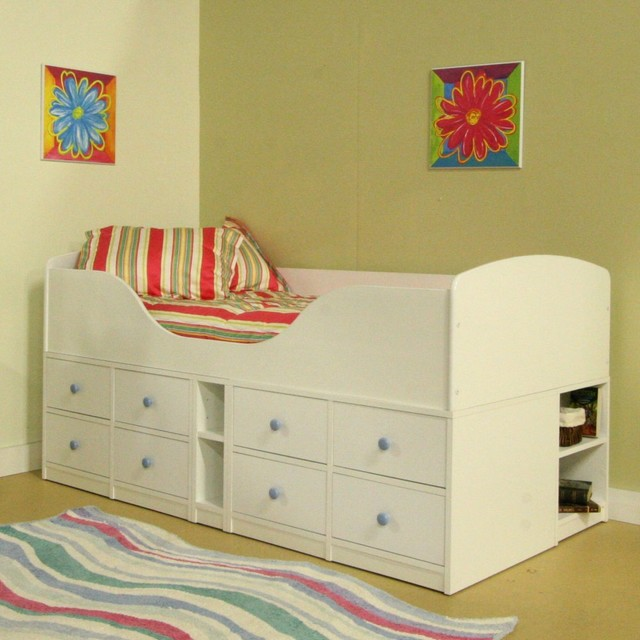 Sierra High Frame Jr. Captains Bed - White modern-beds