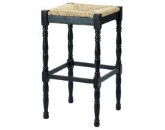 Dorchester Barstools Black, White, Aged Moss - English Coutry Barstool traditional-bar-stools-and-counter-stools