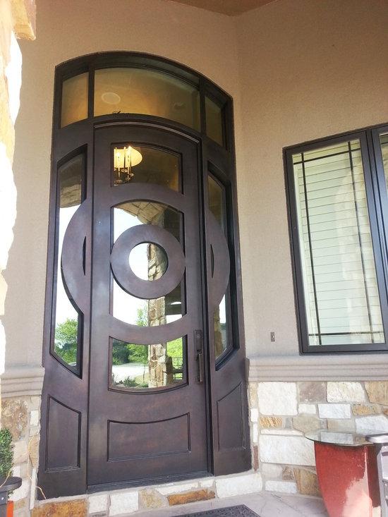 """Contemporary Door - 64"""" x 144"""" Hand Rubbed Bronze door with clear glass"""