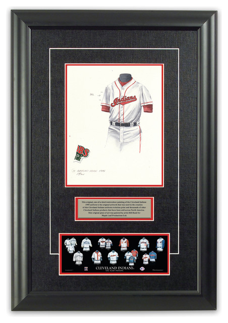 Original art of the MLB 1995 Cleveland Indians uniform traditional-game-room-wall-art-and-signs