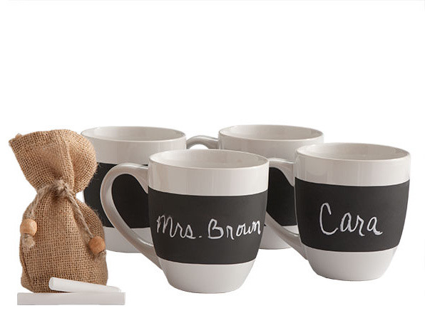 Chalkboard Mugs contemporary-mugs