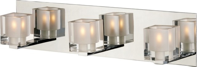 Chrome Bath Lighting Fixtures: Blocs Collection Chrome Mirror Three Light Bath Bar