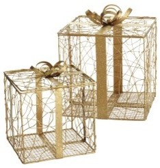 Gold Gift Boxes modern-holiday-accents-and-figurines