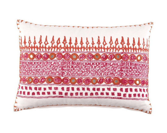 """John Robshaw - Primrose Decorative Pillow design by John Robshaw. """"During block printing, the tables are covered with a white cotton cloth where the printers test the blocks. The inspiration for these pillows are the random combinations created over days of printing.""""- John Robsaw"""