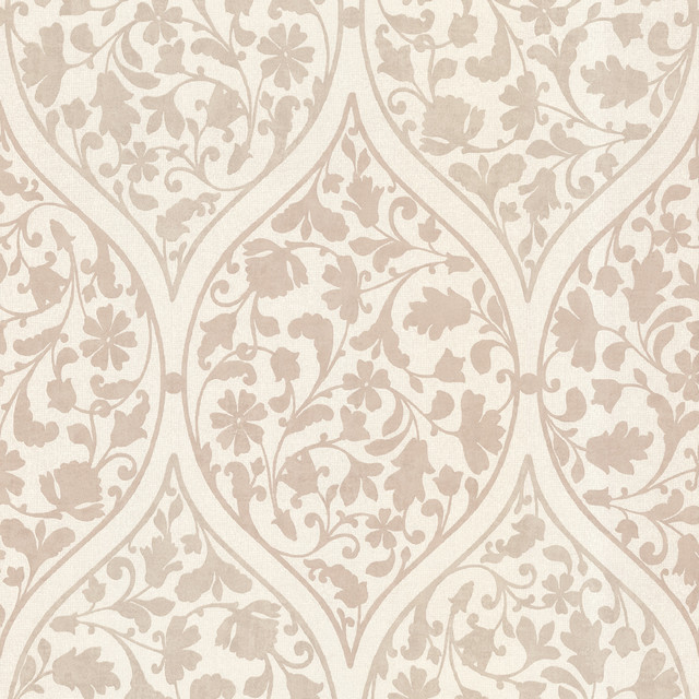 Adelaide Taupe Ogee Floral  Wallpaper traditional-wallpaper