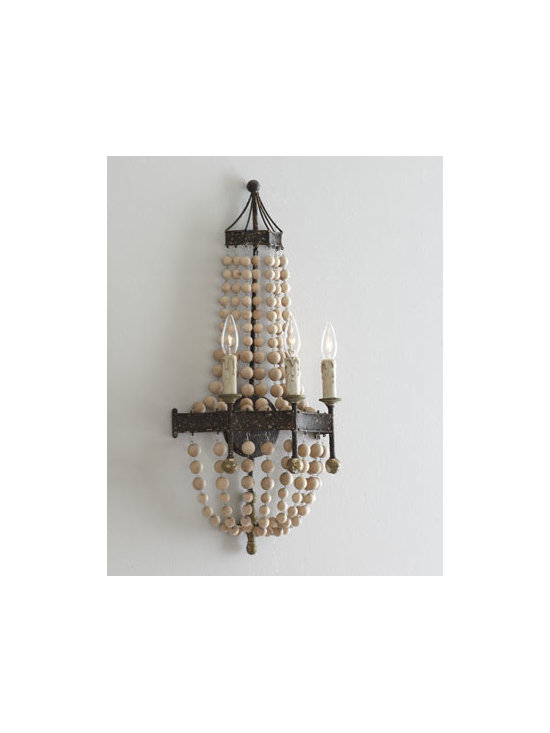 "Regina-Andrew Design - Regina-Andrew Design Wooden Bead Wall Sconce - Metal wall sconce with reverse-scallop design holds three ""candle"" lights and is draped with strands of natural wooden beads. From Regina-Andrew Design. Handcrafted of metal and wood beads. Uses three 60-watt candelabra bulbs. 13.25""W x 7.5""D x 27.5""T. Imported."