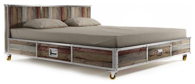 industrial loft reclaimed teak queen platform storage bed industrial panel beds by zin home. Black Bedroom Furniture Sets. Home Design Ideas