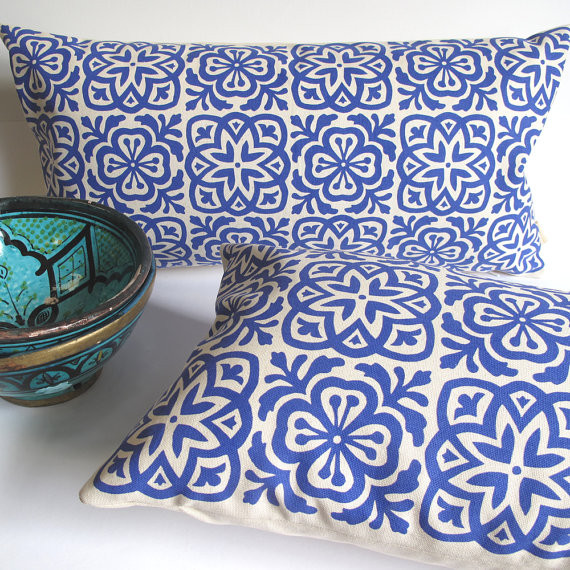 Moroccan Tile Slim Pillow, Royal Blue by Helen Rawlinson mediterranean pillows