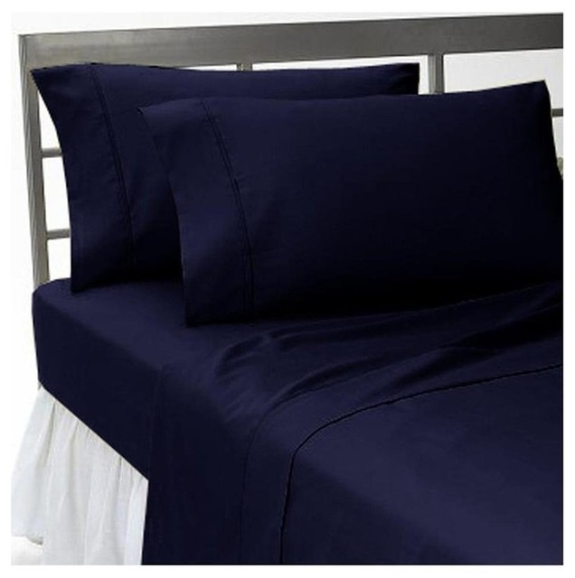 1000tc Solid King Size Navy Blue Color Sheet Set