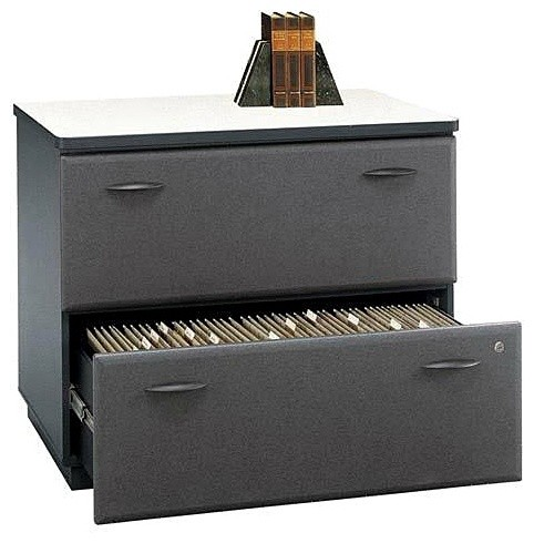 Double Drawer Lateral File Cabinet w Textured - Contemporary - Filing Cabinets - by ivgStores