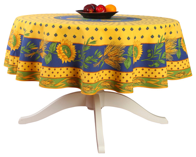 French Provencal Polyester Tablecloth - Tournesol Yellow - Round ...