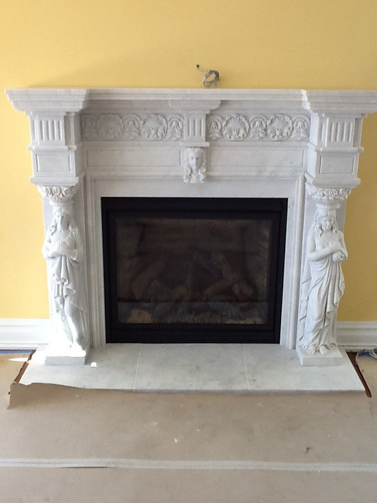 Installations - Custom hand carved marble mantle