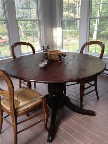 Round Dining Table In Client s Sun Room Farmhouse Dining Tables bos